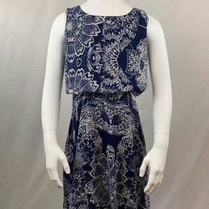 Aqua Blue and White Floral Dress Girls Size Large